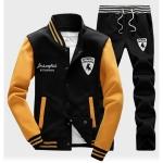 ชุดเสื้อแจ็คเก็ต-กางเกงขายาว : สีเหลือง - ดำ รุ่น KOMA ST0005