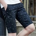 กางเกงขาสั้นแฟชั่นเกาหลี ลายก้างปลา : สีดำ