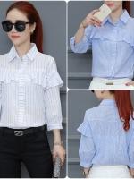 เสื้อเชิ้ตสไตล์เกาหลี แต่งระบายเก๋ๆ ผ้าฝ้ายลายทางฉลุ เนื้อผ้าดีสวมใส่สบาย งานนำเข้าแบรนด์แท้ของเมืองนอกคุณภาพดี
