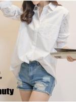 เสื้อเชิ้ตสไตล์เกาหลี แต่งลูกไม้เก๋ๆ เนื้อผ้าดีสวมใส่สะบาย