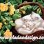 กระดาษสาพิมพ์ลาย สำหรับทำงาน เดคูพาจ Decoupage แนวภาำพ ลูกแมวขนขาว 3 ตัว นอนหลับพับอยุ่ในตระกร้าหวายในซุ้มกุหลาบเหลือง thumbnail 1
