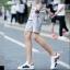 กางเกงขาสั้นแฟชั่นเกาหลี สีเทา ลายตารางในตัว thumbnail 2