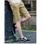 กางเกงขาสั้นแฟชั่นเกาหลี ลายก้างปลา : สีกากี thumbnail 2