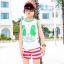เสื้อกล้ามเด็ก สีขาวขอบเขียว สดใส ด้านหลังรูปดาวหลากสี สไตล์เกาหลี น่ารักสุดๆ thumbnail 1