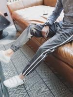 กางเกงวอร์มขายาวเกาหลี แต่งแถบเส้นด้านข้าง จั้มขา มี2สี
