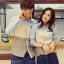 Pre Order เสื้อเชิ้ตคู่รักเกาหลี แขนยาว คอปก แต่งขอบกระเป๋าเสื้อ สีตามรูป thumbnail 1