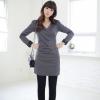 Qian Yi *Pre-order*เดรสไซส์ใหญ่ แขนยาว เนื้อผ้าหนา สีดำ-สีเทา