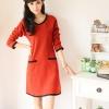 ++เสื้อผ้าไซส์ใหญ่++ Qiaoyi *Pre-Order *ชุดเดรสเกาหลีไซส์ใหญ่ผ้าฝ้ายแขนสามส่วนคอกลมแบบเรียบแต่น่ารักค่ะ