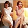 Style on me ++สินค้าพร้อมส่งค่ะ++ชุดเดรสเกาหลี คอกลม แขนกุด ผ้าลูกไม้แสนหวาน จั้มเอว ตัดต่อกระโปรงชีฟองพรีทสั้น มีซับในค่ะ – สีขาว