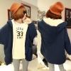 ++สินค้าพร้อมส่งค่ะ++ เสื้อ coat เกาหลี ตัวยาว แขนยาว สไตล์ cardigan มี hood แต่งกระเป๋าใหญ่สองข้าง สีNavy