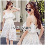 Lady Lauretta Pure Summer Off-Shoulder White Lace Dress