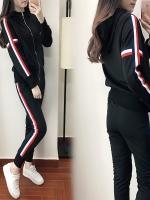 Pre Order ชุดวอร์มเทรนด์เกาหลี เสื้อแจ็คเก็ตแขนยาว+กางเกงขายาว มี2สี