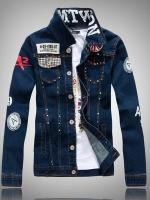 เสื้อแจ็คเก็ตยีนส์เกาหลี แต่งพิมพ์ลายทั้งตัว ดีไซน์หมุด