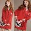 ++สินค้าพร้อมส่งค่ะ++เสื้อ coat เกาหลี สไตล์ cardigan ตัวยาว แขนยาว มี hood ซับในด้วยขนนิ่มอุ่นมากๆ ค่ะ ทอรูปกระต่ายด้านหน้า เก๋ – สีแดง thumbnail 1