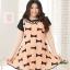 Pre Order - เดรสแฟชั่นเกาหลี คนอ้วน Big Size แขนสั้น พิมพ์ลายผ้าเป็นโบว์ สี : สีดำ / สีส้ม thumbnail 1
