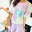 ++สินค้าพร้อมส่งค่ะ++ชุดเซ็ทเกาหลี เสื้อแขนสามส่วน คอกลม paint ลายดอกไม้ด้านหน้า+กระโปรง ซิบข้างตัดต่อขอบน่ารัก – สี ม่วง thumbnail 2