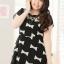 Pre Order - เดรสแฟชั่นเกาหลี คนอ้วน Big Size แขนสั้น พิมพ์ลายผ้าเป็นโบว์ สี : สีดำ / สีส้ม thumbnail 5