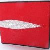 กระเป๋าสตางค์ใช้ได้ทั้งสตรี-บุรุษ หนังปลากระเบนแท้ สีแดงสดสะดุดตา Hot Red