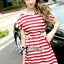 Lady Ribbon Pearl Embellished Stripped Red Dress thumbnail 3