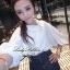 Lady Ribbon เสื้อเชิ้ตสไตล์สาวเกาหลีปกข้าง สีขาว-สีดำ thumbnail 1