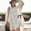 Lady Ribbon Patchwork Flared-Sleeve Shirt Dress in White thumbnail 1