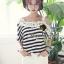 Seoul Secret Cool Stripy Top Shoulder Oblique Lace thumbnail 5