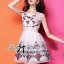 Lady Ribbon Crystal Embellished Cotton Silk Dress thumbnail 3