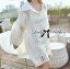 Lady Ribbon Patchwork Flared-Sleeve Shirt Dress in White thumbnail 3