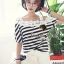 Seoul Secret Cool Stripy Top Shoulder Oblique Lace thumbnail 1