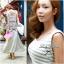 Lady Ribbon Striped Maxi Dress เดรสยาวแขนกุด ลายทางทรงบอดี้คอน thumbnail 6