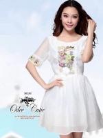 Odee Cutie White Dress เดรสแขนสั้นสีขาว ปักดอกไม้สีหวาน